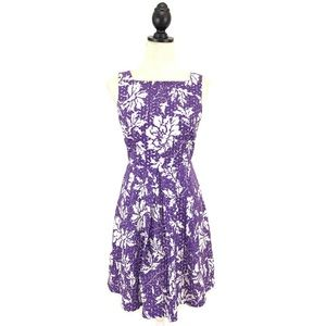NY & Co Purple Floral Eyelet Fit & Flare Dress 2